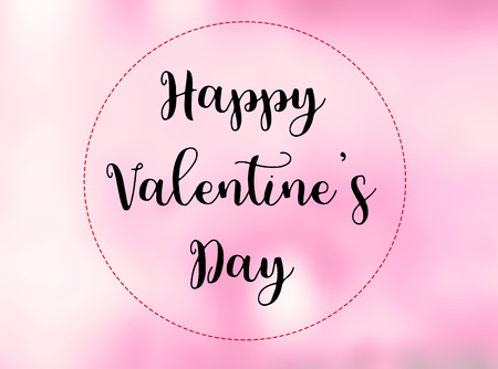 Happy Valentine S Day Words On Blurred Pink Background Stock Photo