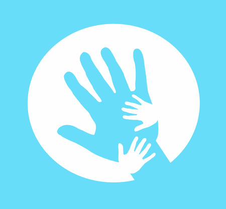 Hand together, Hand of Adult and Kid on blue.