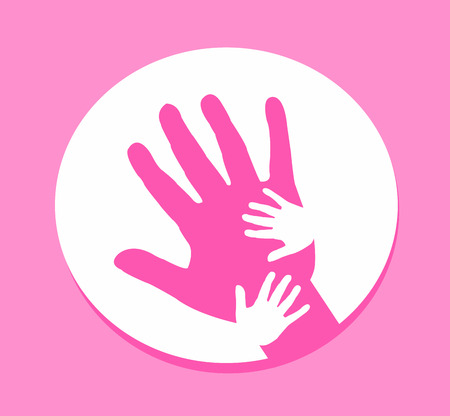 Hand together, Hand of Adult and Kid on pink