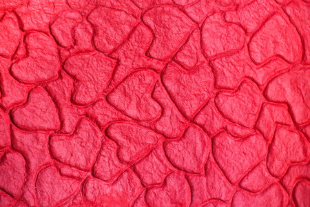 mulberry paper: Red heart mulberry paper, abstract textured background.