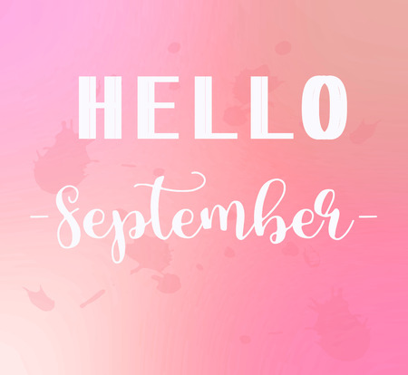 Hello September words on pink background. Stock Photo