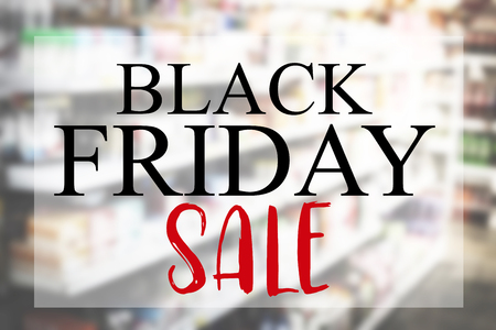 Black Friday sale on burred image of shopping mall. Stok Fotoğraf