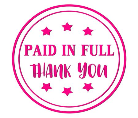 paid in full thank you words on pink, orange rubber stamp.