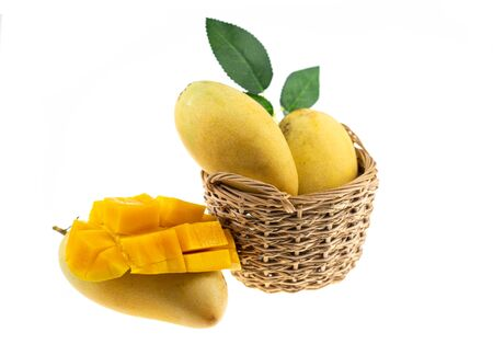 Yellow mango and mango slice isolated white background.