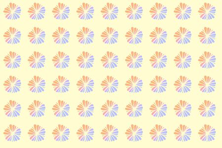 Pink pastel flowers pattern on yellow background.