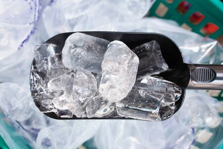 Clean ice cube isolated background.