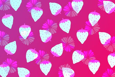 Pink pattern background, sweet pink strawberries and flowers background.
