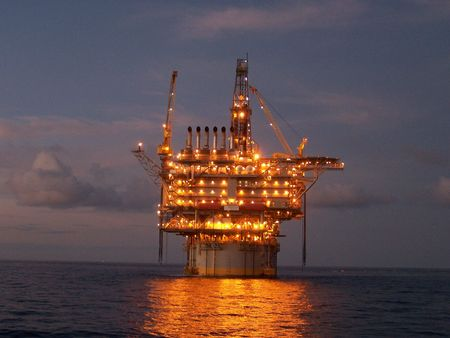 Deepwater oil platform at twilight