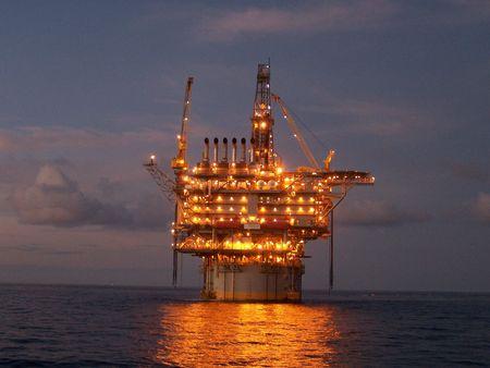 Deepwater oil platform at twilight