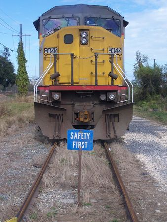 Locomotive blocked by blue flag Stock Photo - 2231810