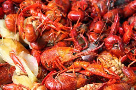 Boiled crawfish ready to be eaten