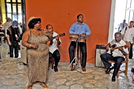 HAVANA, CUBA, MAY 6, 2009  A Cuban band playing in a hotel lobby in Havana, Cuba, on May 6th, 2009