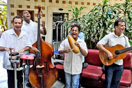 HAVANA, CUBA, MAY 5, 2009  A Cuban band playing in a hotel lobby in Havana, Cuba, on May 6th, 2009