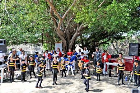 6 7 year old: HAVANA, CUBA, MAY 5, 2009  Children dressed as bumblebees dancing in the Fit Cuba 2009 tourism festival in Havana, Cuba, on May 5th, 2009