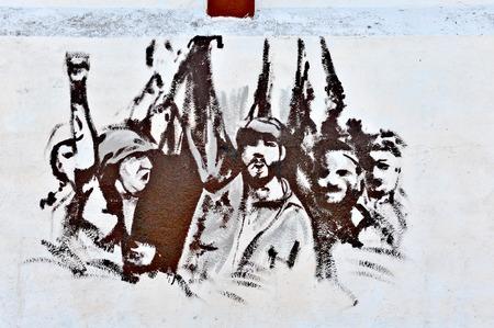 che guevara: HAVANA, CUBA, MAY 11, 2009  Graffiti and wall paintings representing the Cuban national heroes, in Havana, on May 11th, 2009