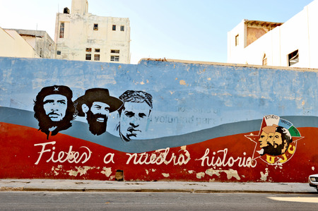 HAVANA, CUBA, MAY 11, 2009  Graffiti and wall paintings representing the Cuban national heroes, in Havana, on May 11th, 2009