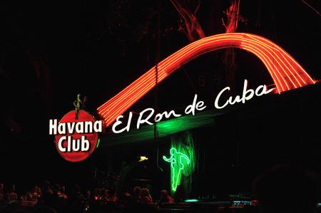 tropicana: HAVANA, CUBA, MAY 7, 2009  The Havana Club neon advertisement sign with the text El Ron de Cuba in the tropicana hall in Havana, Cuba, on May 7, 2009