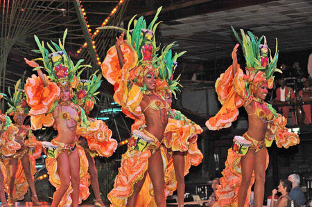 tropicana: HAVANA, CUBA, MAY 7, 2009  Two astonishing dancer performing in Tropicana in Havana, Cuba, on May 7, 2009
