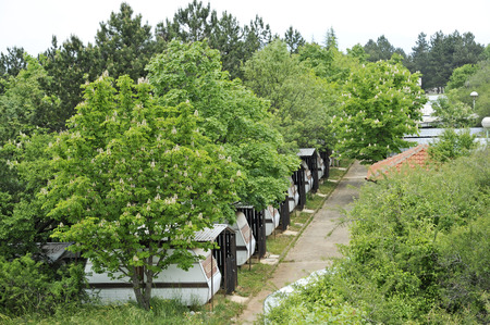 17th: OHRID, MACEDONIA, MAY 17, 2011  A camp of recreational vehicles in the countryside of Ohrid, Macedonia, on May 17th, 2011