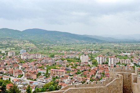 A view of the town of Ohrid from above, with the wall of the fortress of Tsar Samuil in the front, in Ohrid, Macedonia photo