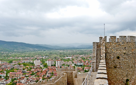 A view of the town of Ohrid from above, with the wall of the fortress of Tsar Samuil in the front, in Ohrid, Macedonia