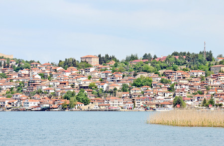 A view to the town of Ohrid over the lake Ohrid in Ohrid, Macedonia photo