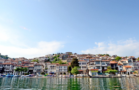 A view to the town of Ohrid over the lake Ohrid, in Ohrid, Macedonia photo