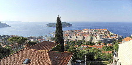 DUBROVNIK, CROATIA, MAY 23, 2011.  A view to the old town of Dubrovnik from the wall surrounding the town, in Dubrovnik, Croatia, on May 23rd, 2011.