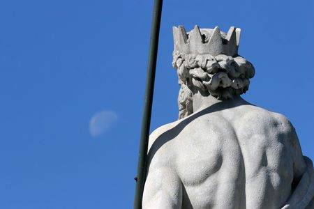 neptun: neptun and moon in madrid Stock Photo