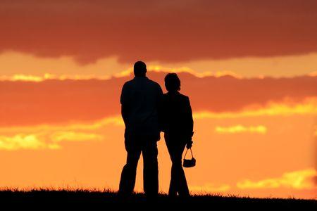Romanic couple walking photo