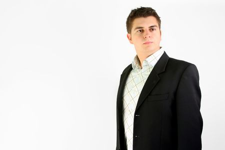 over white portrait of young businessman in suit Stock Photo - 2345042