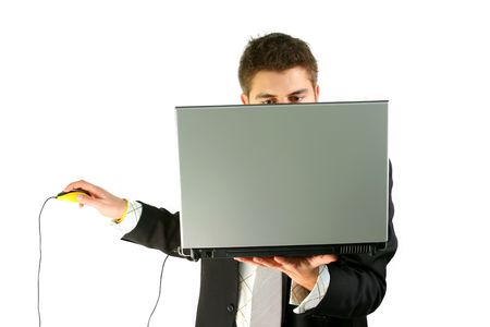 businessman in suit is working on laptop using extra mouse Stock Photo - 2351928