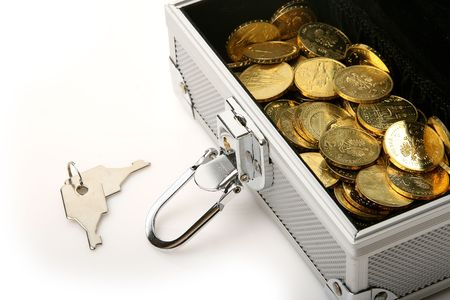 silver box with gold coins and set of keys photo