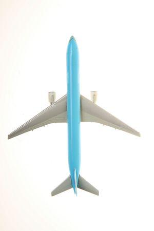 boeing: vista superiore del piano blu bianco su sfondo
