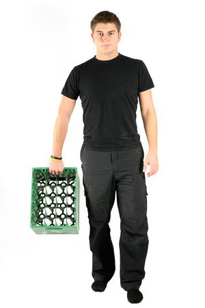 man in black holding green beer plastic box photo