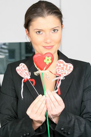 young businesswoman in office with valentines hearts Stock Photo - 2368158