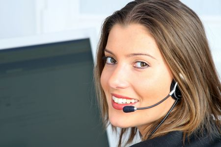 young woman on customer service with computer in background Stock Photo - 2368155