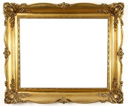 baroque picture frame: old antique gold frame over white background Stock Photo