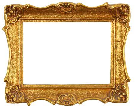 antique gold frame: old antique gold frame over white