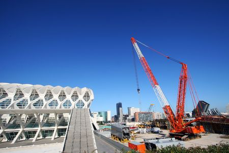 new construction site over blue sky of Valencia photo