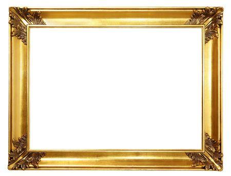 old antique gold frame over white