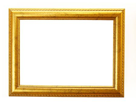 ornamentations: old antique gold frame over white with clipping path