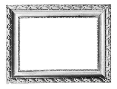 ornamentations: vecchio argento antico telaio su bianco  Archivio Fotografico