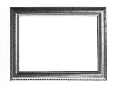 old antique silver frame over white  Stock Photo