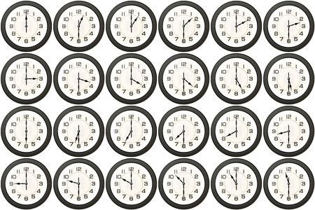 24 clock avery half hour isolated on white background photo