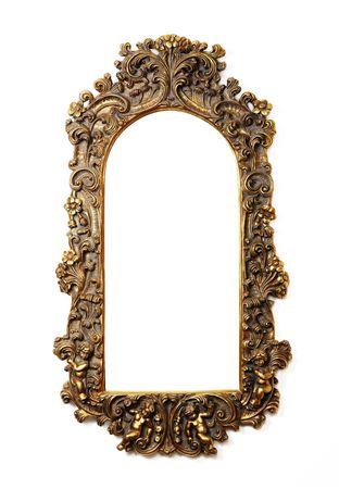 alte antiken gold Frame über weißen Hintergrund Standard-Bild