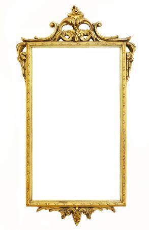 gold decorations: antiguo marco de oro m�s antiguo en blanco Foto de archivo