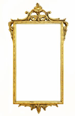 old antique gold frame over white photo