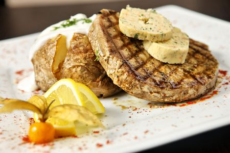 grilled potato: Well done steak with nice grilled potato