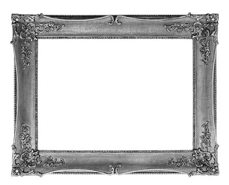 gold and silver: nice old silver frame with clipping path Stock Photo